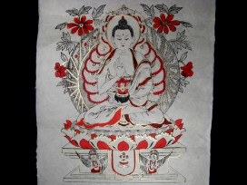 AF25 Affiche Tibétaine Papier Népalais Bouddha
