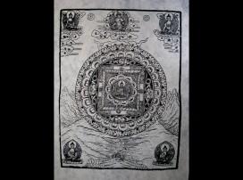 AF29 Affiche Tibétaine Papier Népalais Bouddha