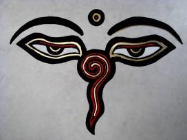 AF34 Affiche Tibétaine Papier Népalais Yeux de Bouddha
