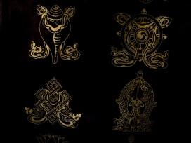 AF37 Affiche Tibétaine Papier Népalais Signes Auspicieux