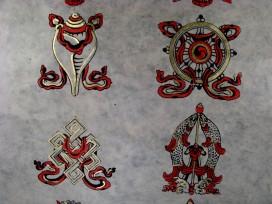 AF39 Affiche Tibétaine Papier Népalais Signes Auspicieux