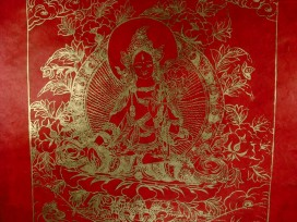 AF43 Affiche Tibétaine Papier Népalais Tara Déesse Bouddhiste