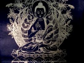 AF45 Affiche Tibétaine Papier Népalais Bouddha