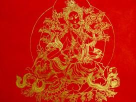 AF50 Affiche Tibétaine Papier Népalais Tara Déesse Bouddhiste