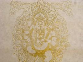 AF51 Affiche Tibétaine Papier Népalais Ganesh Dieu Hindou