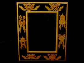 CAD03 Cadre Photo Tibétain Astamangala Signes Auspicieux du Bouddhisme