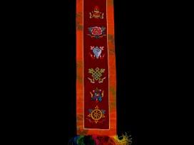 BB77 Bannière Tibétaine Signes Auspicieux du Bouddhisme
