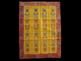 BB49 Rideau de Porte Tibétain / Tenture Tibétaine Signes Auspicieux du Bouddhisme