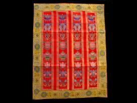 BB50 Rideau de Porte Tibétain / Tenture Tibétaine Signes Auspicieux du Bouddhisme