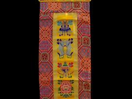 BB54 Bannière Tibétaine Signes Auspicieux du Bouddhisme