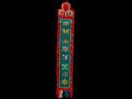 BB56 Bannière Tibétaine Signes Auspicieux du Bouddhisme