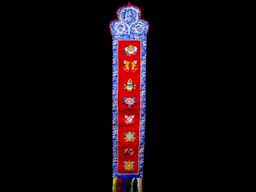 BB79 Bannière Tibétaine Signes Auspicieux du Bouddhisme