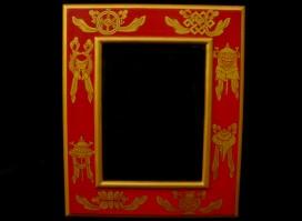 CAD04 Cadre Photo Tibétain Astamangala Signes Auspicieux du Bouddhisme