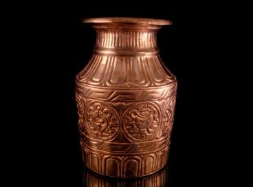 DDD15 Vase Tibétain Cuivre Signes Auspicieux