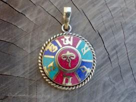 PD99 Pendentif Tibétain Mantra Yeux de Bouddha