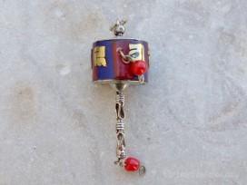 PD104 Pendentif Tibétain Roue à Prières