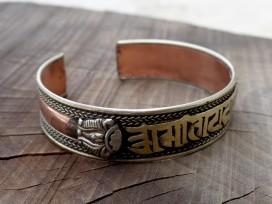 BRD338 Bracelet Tibétain Métal Argenté Cuivre Laiton Mantra