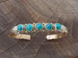 BRD344 Bracelet Tibétain Métal Argenté Cuivre Laiton