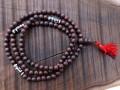 Mala114 Mala de Prières Bois Tibet Perles Dzi