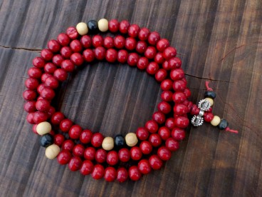 Mala119 Mala de Prières Bois Tibet Perles Dorje