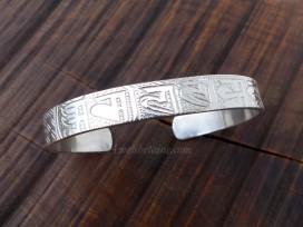 BRA70. Bracelet Tibétain Argent Massif Rhodié Mantra Bouddhiste