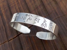 BRA71. Bracelet Tibétain Argent Massif Mantra Bouddhiste