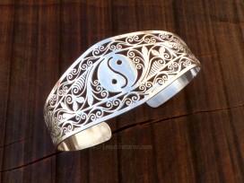 BRA74. Bracelet Tibétain Argent Massif Yin Yang