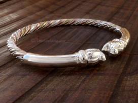 BRA75 Bracelet Eléphant 3 Métaux: Argent, Laiton et Cuivre