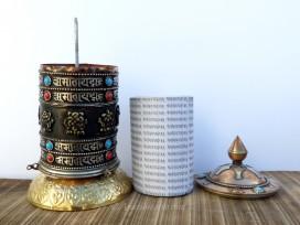 RP114 Roue à Prières Tibétaine Mantra Astamangala
