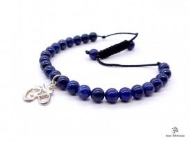 BrMala284 Bracelet Lapis Lazuli Om Argent Massif