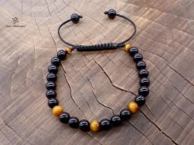 BrMala236 Bracelet Onyx Oeil de Tigre. 20 cm