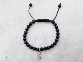 BrMala231 Bracelet Onyx Bouddha Argent Massif