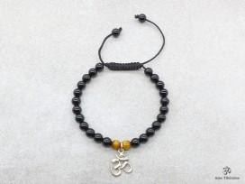 BrMala232 Bracelet Onyx Oeil de Tigre Om Argent Massif