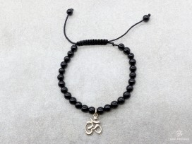 BrMala233 Bracelet Onyx Om Argent Massif