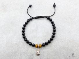 BrMala250 Bracelet Onyx Oeil de Tigre Bouddha Argent Massif