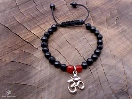 BrMala251 Bracelet Onyx Cornaline Om Argent Massif