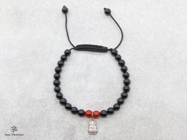 BrMala253 Bracelet Onyx Cornaline Bouddha Argent Massif