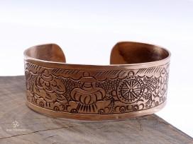 BRD383 Bracelet Tibétain Cuivre Astamangala Signes Auspicieux du Bouddhisme