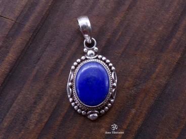 PA249 Pendentif Tibétain Argent Massif Lapis Lazuli