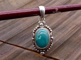 PA333 Pendentif Tibétain Argent Massif Turquoise