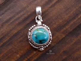 PA400 Pendentif Tibétain Argent Massif Turquoise