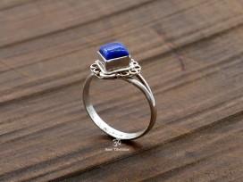 BA109 Bague Tibétaine Argent Massif Lapis Lazuli