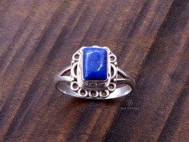 BA222 Bague Tibétaine Argent Massif Lapis Lazuli. Taille 52