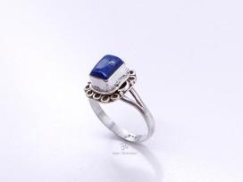 BA222 Bague Tibétaine Argent Massif Lapis Lazuli. Taille 57