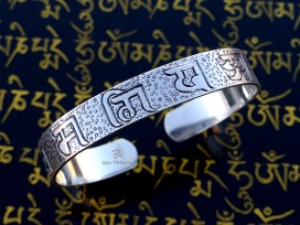 BRA76 Bracelet Tibétain Argent Massif Mantra Bouddhiste