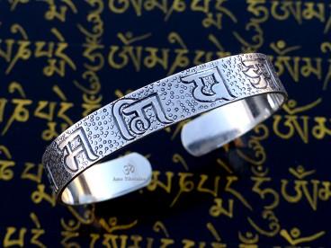 BRA76. Bracelet Tibétain Argent Massif Mantra Bouddhiste