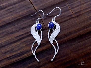 BdOA103 Boucles d'Oreille Tibétaines Argent Massif Lapis Lazuli