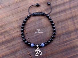 BrMala280 Bracelet Onyx Sodalite Om Argent Massif