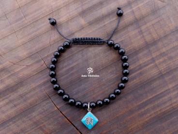 BrMala299 Bracelet Onyx Om Argent Massif. 19 cm