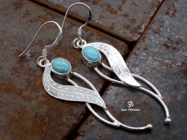 BdOA112 Boucles d'Oreille Tibétaines Argent Massif Turquoise